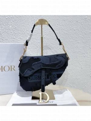 Dior Medium Saddle Bag in Camouflage Embroidered Canvas Bag Blue 2019 Collection