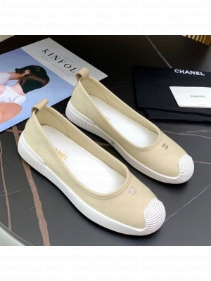 Chanel Canvas Flat Loafers Shoes Beige Spring/Summer 2021 Collection