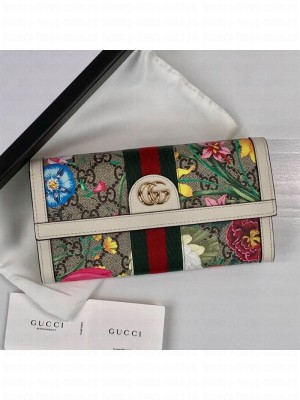 Gucci Ophidia GG Flora Continental Wallet 523153 White 2019 Collection