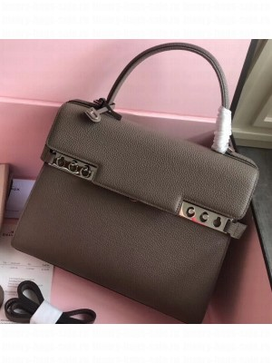 Delvaux Togo Leather Tempete MM Top Handle Tote Bag Etoupe