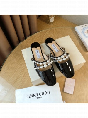 Jimmy Choo AMAYA FLAT black Patent Leather Flats with Pearl Embellishment 2021 Collection