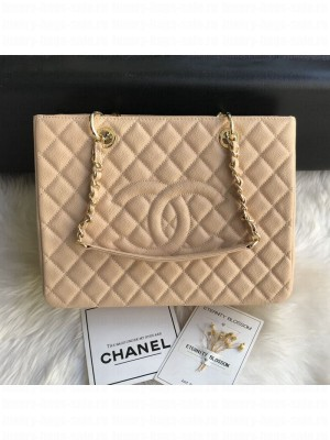 Chanel Grained Calfskin Grand Shopping Tote GST Bag Beige/Gold Collection