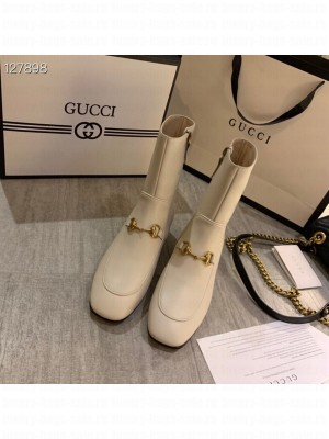 Gucci Crystal Embellished Jordaan Ankle Boots Calfskin Leather Fall/Winter 2020 Collection, White