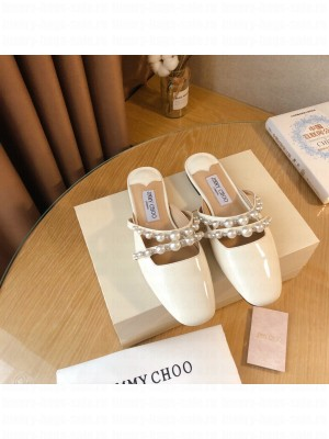 Jimmy Choo AMAYA FLAT White Patent Leather Flats with Pearl Embellishment 2021 Collection