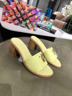 Louis Vuitton Lock It Mule Slide Sandals 55mm Yellow Patent leather 2021 Collection