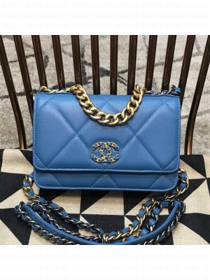 Chanel 19 Quilted Goatskin Wallet on Chain WOC AP0957 Blue 2019 Collection