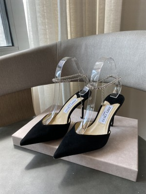 Jimmy Choo Black Suede with Crystal Strap 8.5cm 2021 Collection