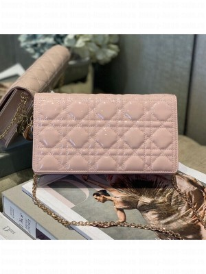 Dior Cannage Patent Leather Chain Wallet WOC Pink 2019 Collection
