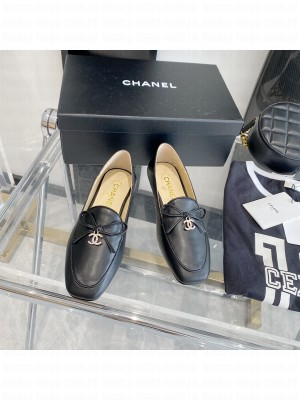 Chanel Leather Bow CC Pendant Loafers Black 2021 Collection