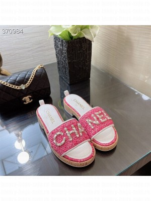 Chanel Woven Slide On Sandals Tweed/Lambskin Leather Spring/Summer 2021 Collection, Pink