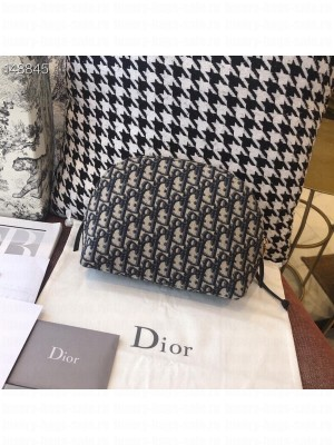 Christian Dior Makeup Pouch Bag 24cm Oblique Embroidered Canvas Silver Hardware Fall/Winter 2020 Collection, Blue