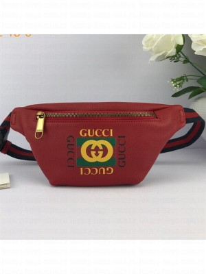 Gucci Logo Print Small Belt Bag 527792 Red 2019 Collection