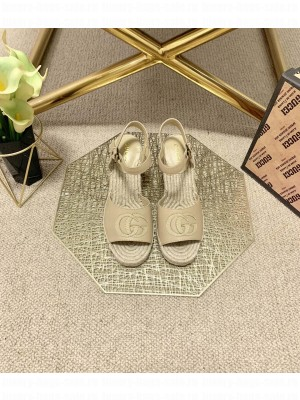 Gucci GG Wedge Sandals 10cm Beige 2021 Collection