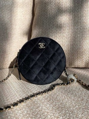 Chanel Woven CC Logo Round Coin Purse Charm Chain Shoulder Bag 12cm Velvet/Lambskin Leather Gold Hardware Fall/Winter 2020 Collection,  Black