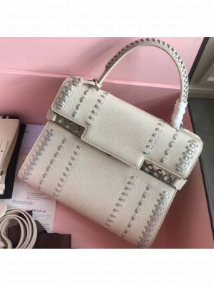 Delvaux Tribal Stitch Tempete MM Top Handle Tote Bag White