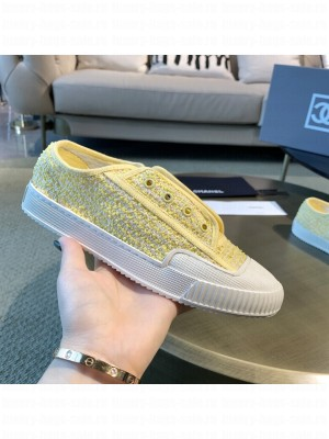 Chanel Cotton Tweed Platform Open Sneakers Yellow 2021 Collection