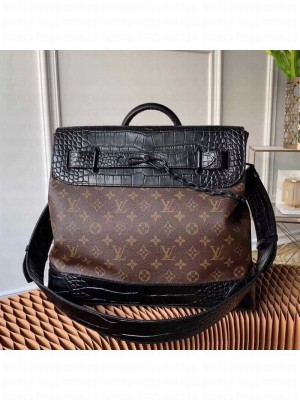 Louis Vuitton Men's Steamer PM Messenger Bag in Monogram Canvas and Crocodile Leather M44473 2019 Collection