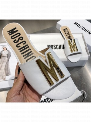 Moschino Calfskin Flat Sandals White With Gold Plated M Detail 2020