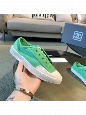 Chanel Canvas Platform Open Sneakers Green 2021 Collection