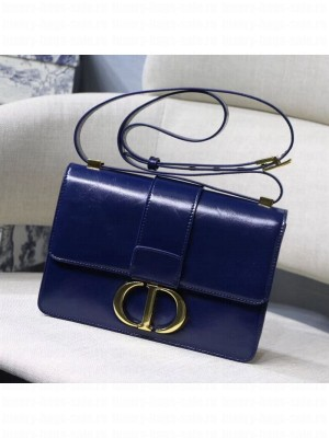 Dior 30 Montaigne Vintage Waxed Leather Flap Bag Midnight Blue 2019 Collection