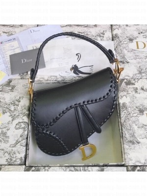 Dior Saddle Medium Bag in Braided Leather Black 2019 Collection
