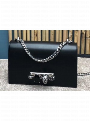 Alexander Mcqueen Jewelled Satchel Bag Smooth Calf Leather Black/Silver