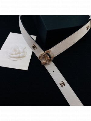 Chanel Calfskin Belt 3cm with Star CC Buckle White  2021 Collection