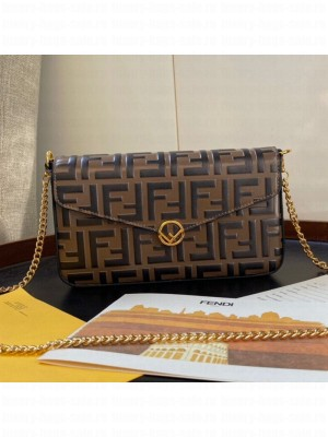 Fendi FF Wallet on Chian WOC with Pouches/Mini Bag Brown 2019 Collection