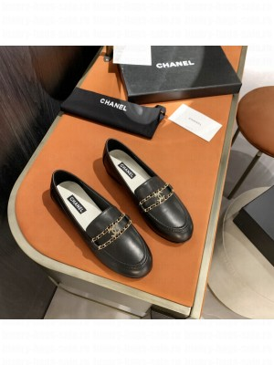 Chanel Calfskin CC Chain Loafers Black 2021 Collection