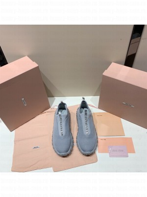 MIU MIU STRETCH KNIT SLIP-ON SNEAKERS with synthetic crystals Gray