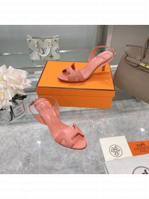 Hermes Leather Heeled Sandals 7cm Pink 2021 Collection