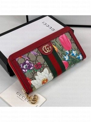Gucci Ophidia GG Flora Zip Around Wallet 523154 Red 2019 Collection