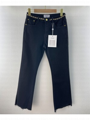 Chanel Women's Jeans With Chain Decoration Black