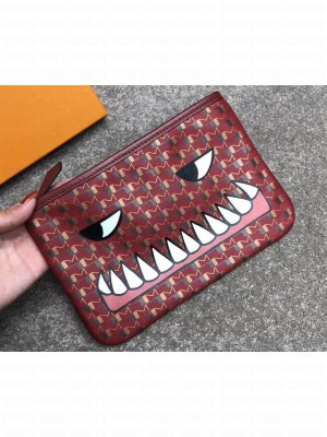 Moynat Toile 1920 Canvas Ribbon Pouch Clutch Small Bag Dark Red