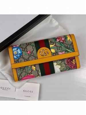 Gucci Ophidia GG Flora Continental Wallet 523153 Yellow 2019 Collection