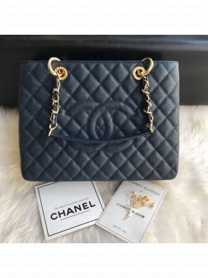 Chanel Grained Calfskin Grand Shopping Tote GST Bag Navy Blue/Gold Collection