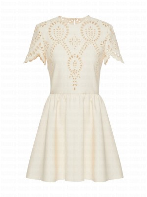 Valentino Women's Hollow Embroidery Dress White