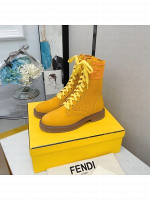 Fendi Rockoko combat boots with stretch fabric inserts 018 yellow 2021 Collection
