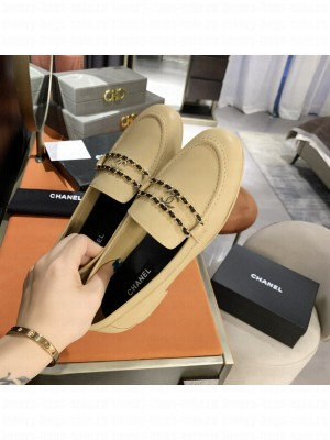 Chanel Calfskin CC Chain Loafers Beige 2021 Collection