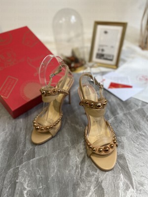 Christian Louboutin Round Studded Beige Sandals 2021 Collection