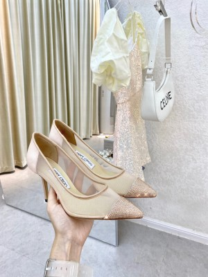 Jimmy Choo Crystal Mesh Pumps 8.5cm Beige 2021 Collection