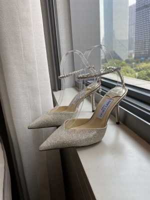 Jimmy Choo Gold Glitter Tulle Mules with Crystal Strap 8.5cm 2021 Collection