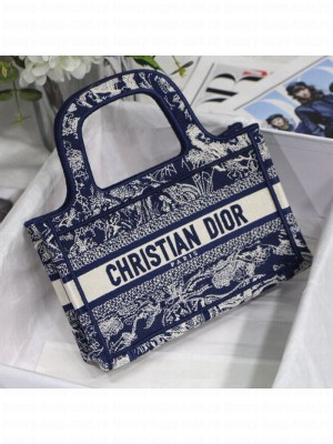 Dior Mini Book Tote Bag in Navy Blue Toile de Jouy Embroidery  2021 Collection