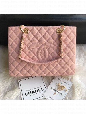 Chanel Grained Calfskin Grand Shopping Tote GST Bag Pink/Gold Collection