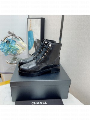 Chanel Women's Combat Boots Black 06 2021 Collection