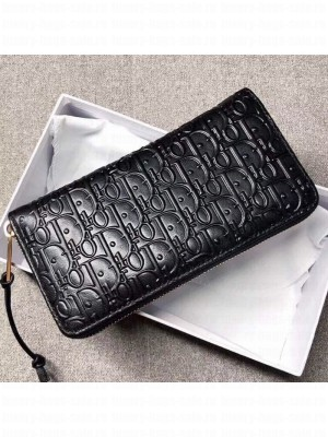 Dior Voyageur Logo Embossed Leather Zipped Long Wallet Black 2019 Collection