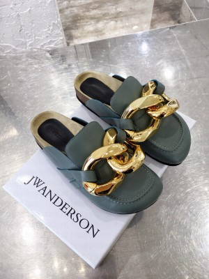 JW Anderson WOMEN'S CHAIN LOAFER MULES GREEN