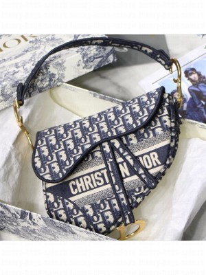 Dior Saddle Medium Bag in Embroidered Oblique Canvas Blue 2019 Collection