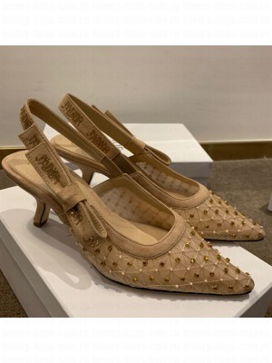 Dior J'Adior Slingback Pumps 6.5cm in Crystal Mesh Embroidery Nude/Yellow Spring/Summer 2021 Collection