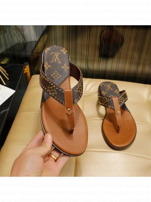 Louis Vuitton Unisex Flat Thong embellished with studs brown 2021 Collection